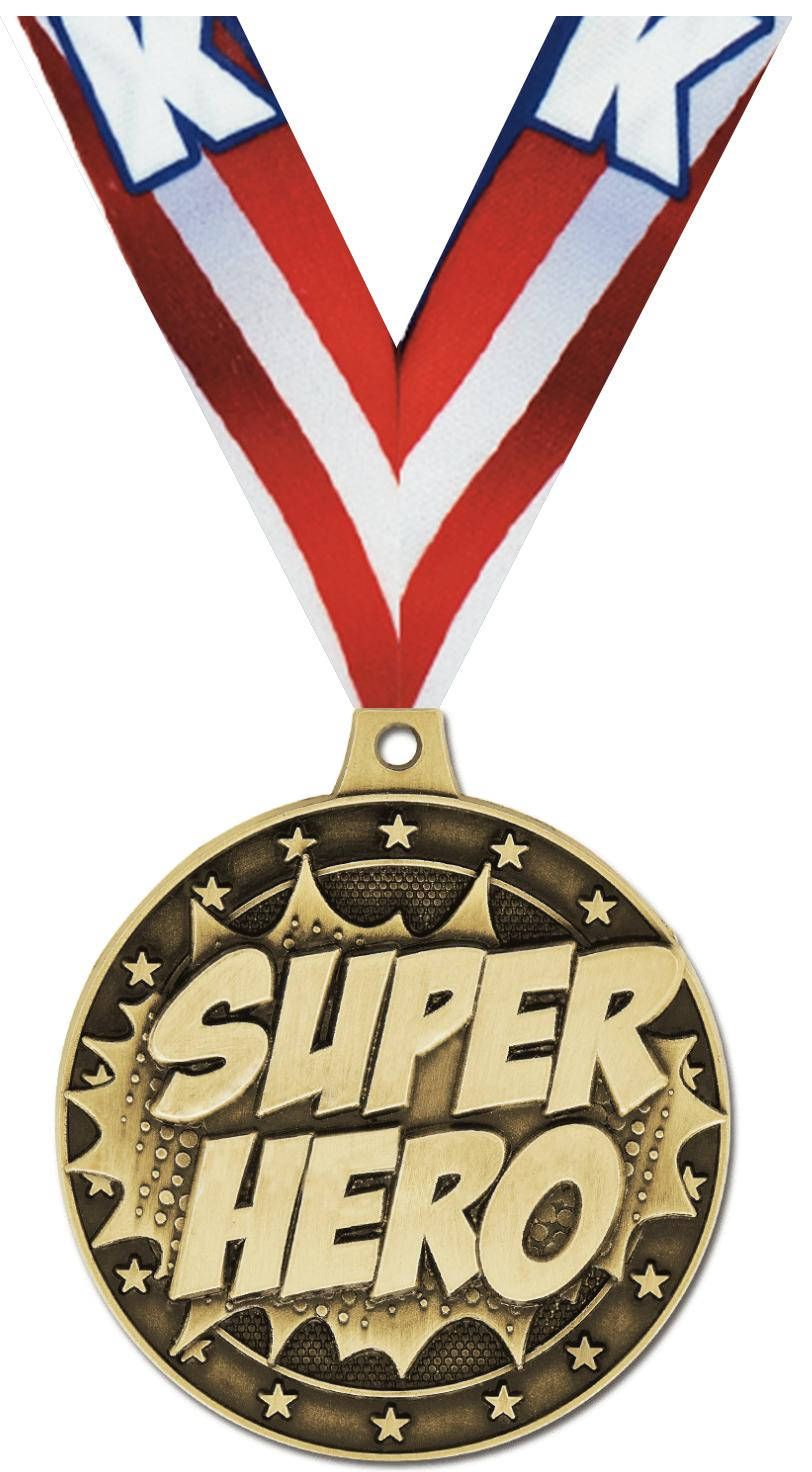 "2"" 3D SUPERHERO MEDAL GOLD"