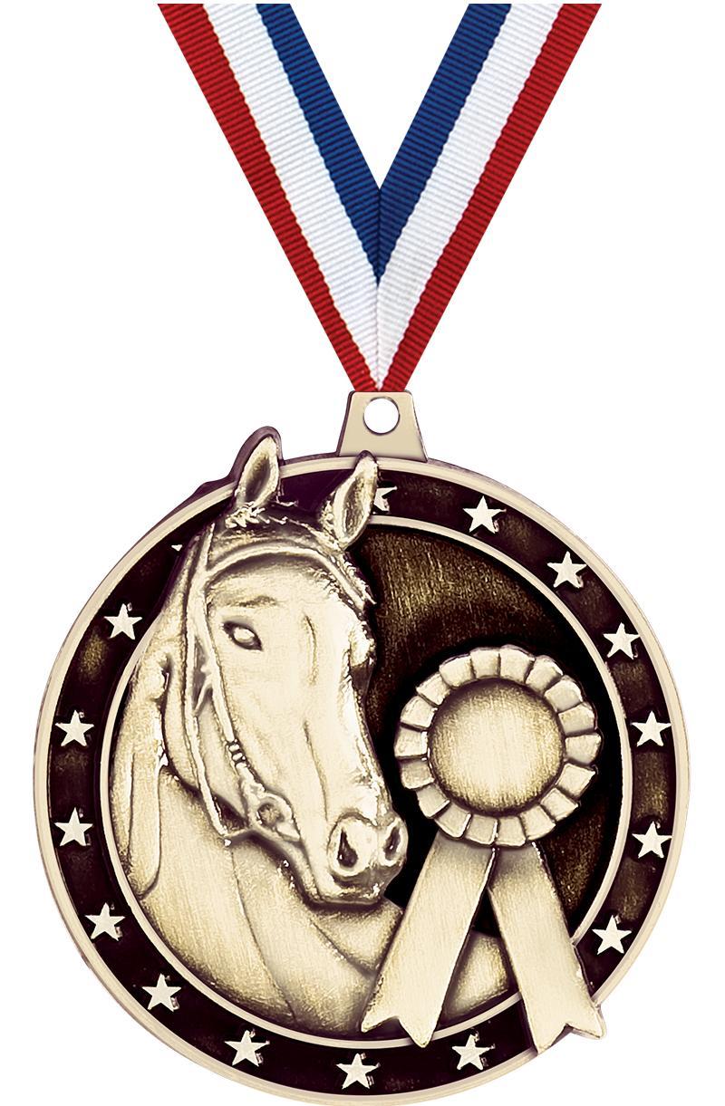 """2"""" 3D HORSE MEDAL GOLD"""