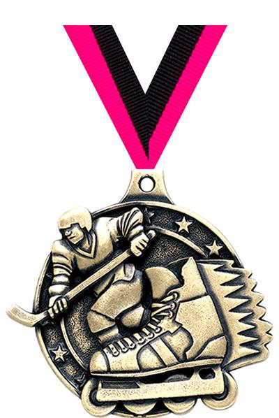 "2"" 3D INLINE HOCKEY MEDAL GOLD"