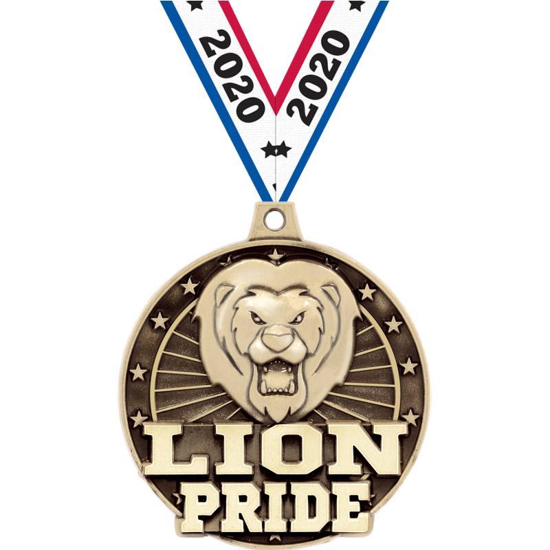 """2"""" 3D LION PRIDE GOLD MEDAL"""