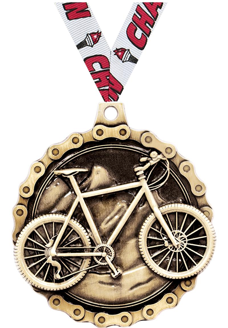 "2"" 3D MNTN BIKE MEDAL GOLD"