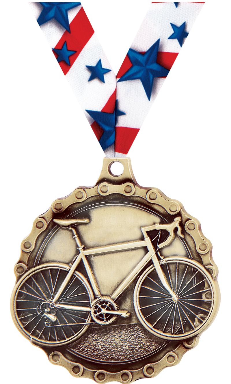 "2"" 3D ROAD BIKE MEDAL GOLD"