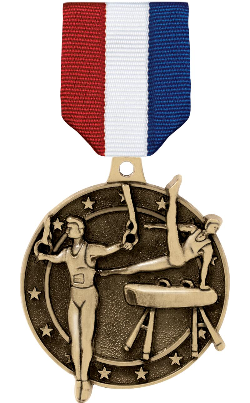 "2"" 3D MALE GYM MEDAL GOLD"