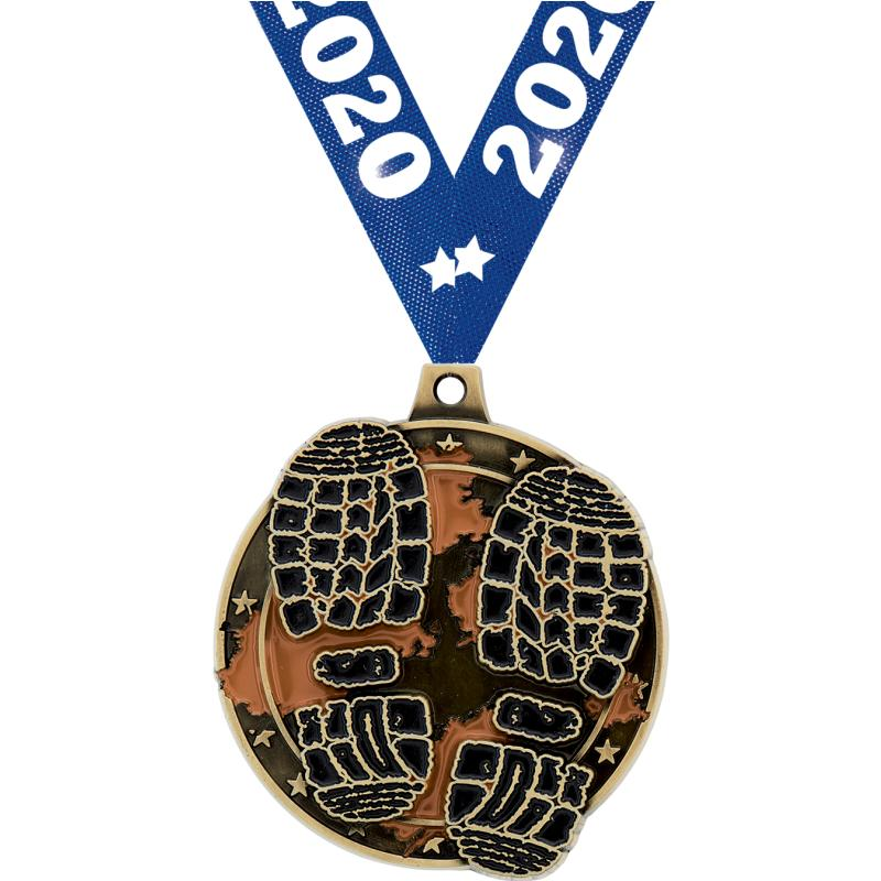 "2"" MUD RUN MEDAL GOLD"