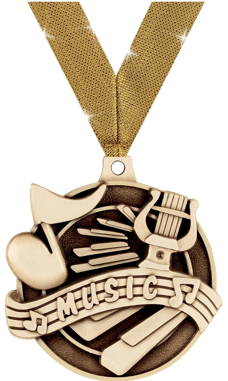 "2"" 3D MUSIC MEDAL GOLD"