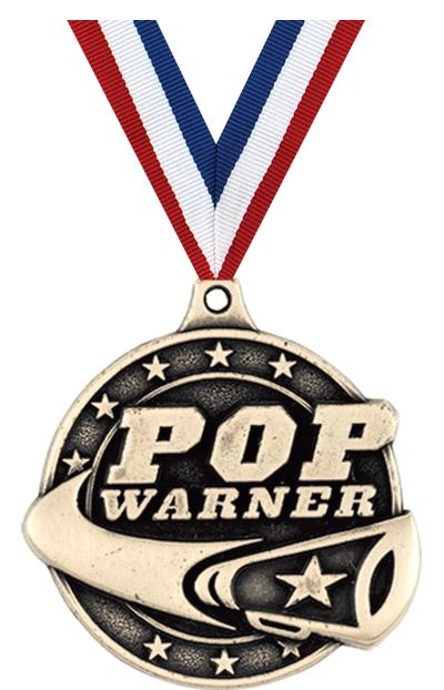 "2"" 3D PW CHEER MEDAL GOLD"