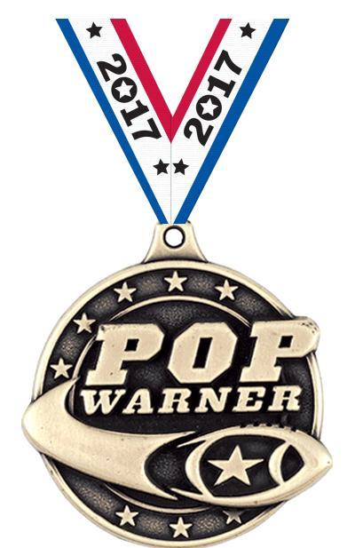 """2"""" Football Pop Warner Medals"""