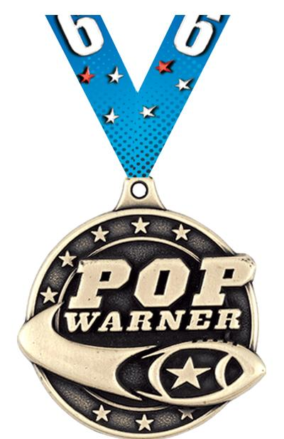 "2"" Football Pop Warner Medals"