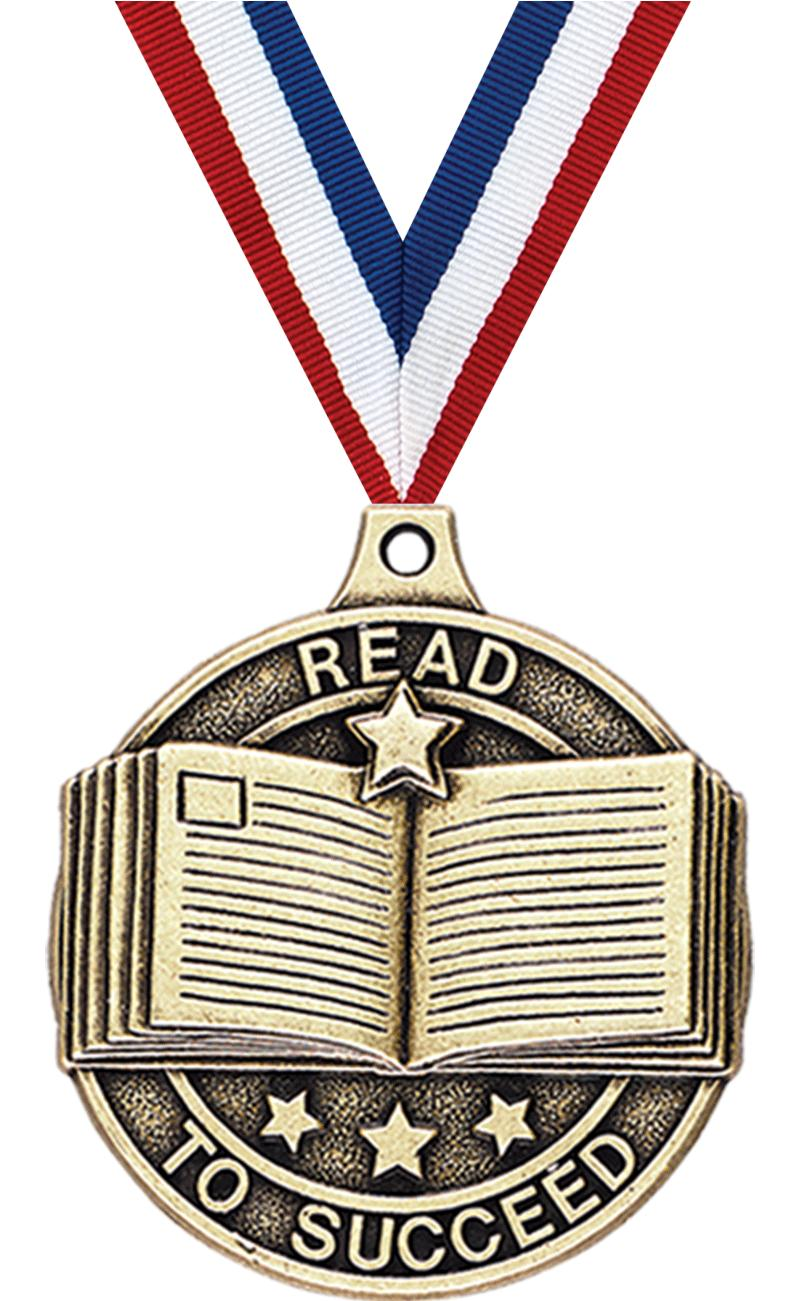 "2"" 3D READ TO SUCCEED MEDAL GD"