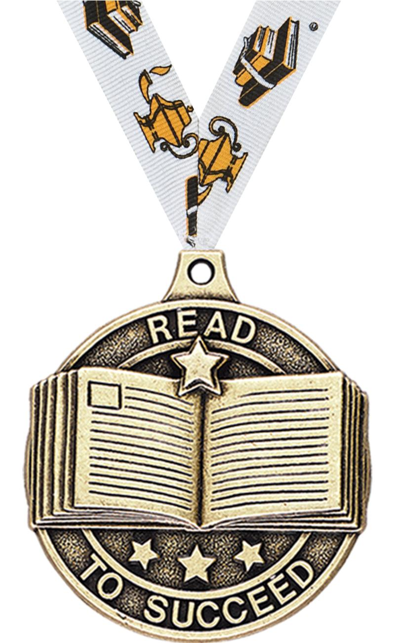 """2"""" 3D READ TO SUCCEED MEDAL GD"""