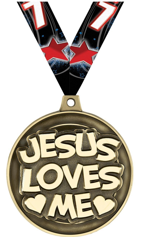 "2"" Jesus Loves Me Medal"