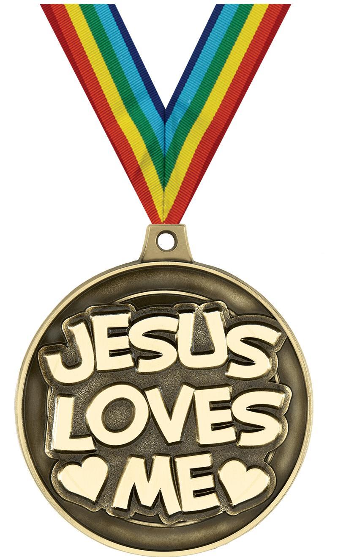 """2"""" 3D JESUS LOVES ME GLD MDL"""