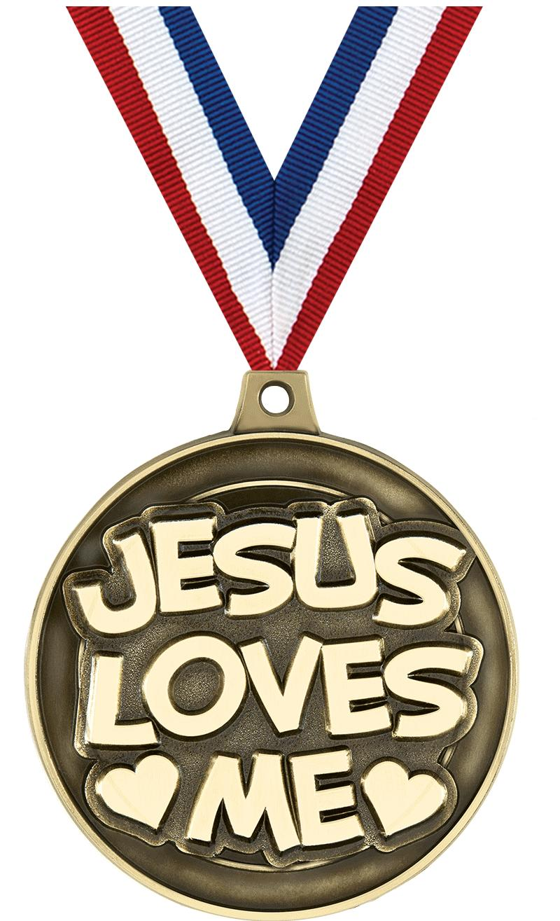 "2"" 3D JESUS LOVES ME GLD MDL"