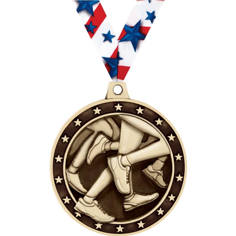 "2"" 3D RUNNING MEDAL GOLD"
