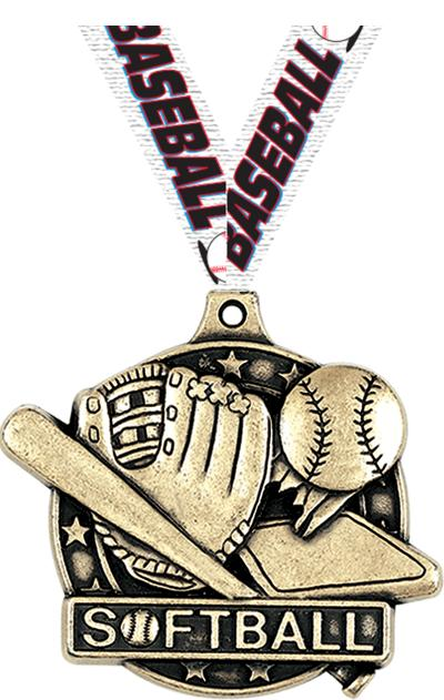 "2"" 3D SOFTBALL MEDAL GOLD"