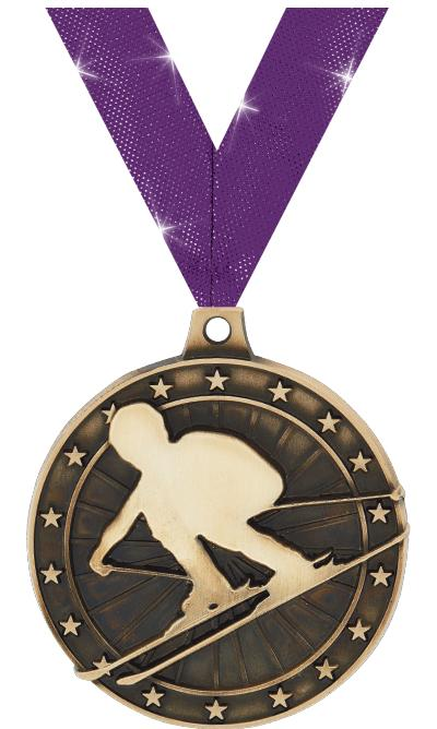 """2"""" 3D SKIING MEDAL GOLD"""