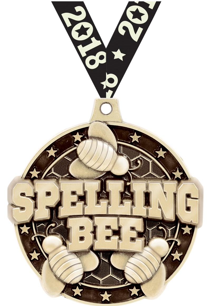 "2""3D SPELLING BEE MEDAL GOLD"