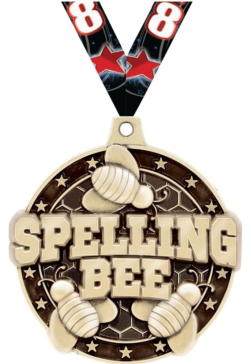 "2""3D SPELLING BEE MEDAL GOLD"