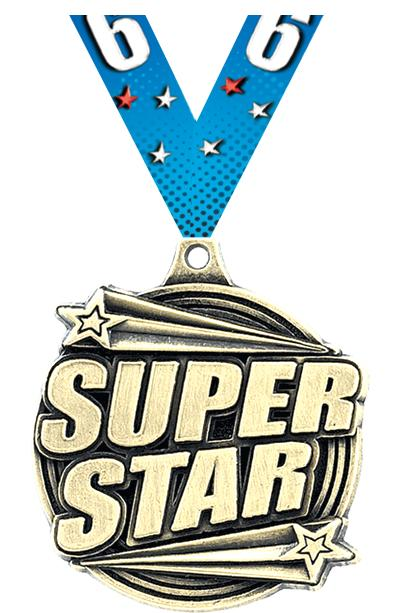"2"" 3D SUPER STAR MEDAL GOLD"