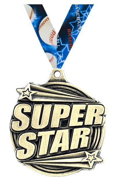 """2"""" 3D SUPER STAR MEDAL GOLD"""