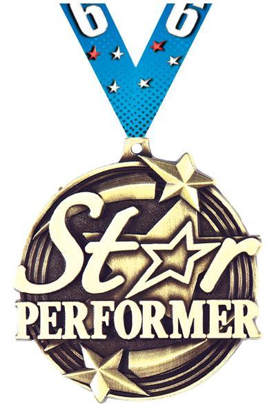 "2"" 3D STAR PERFORMER GOLD MDL"