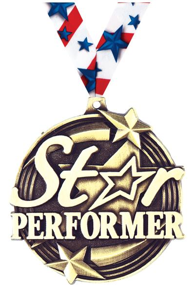 "2"" 3D STAR PERFORMER GOLD MDL"