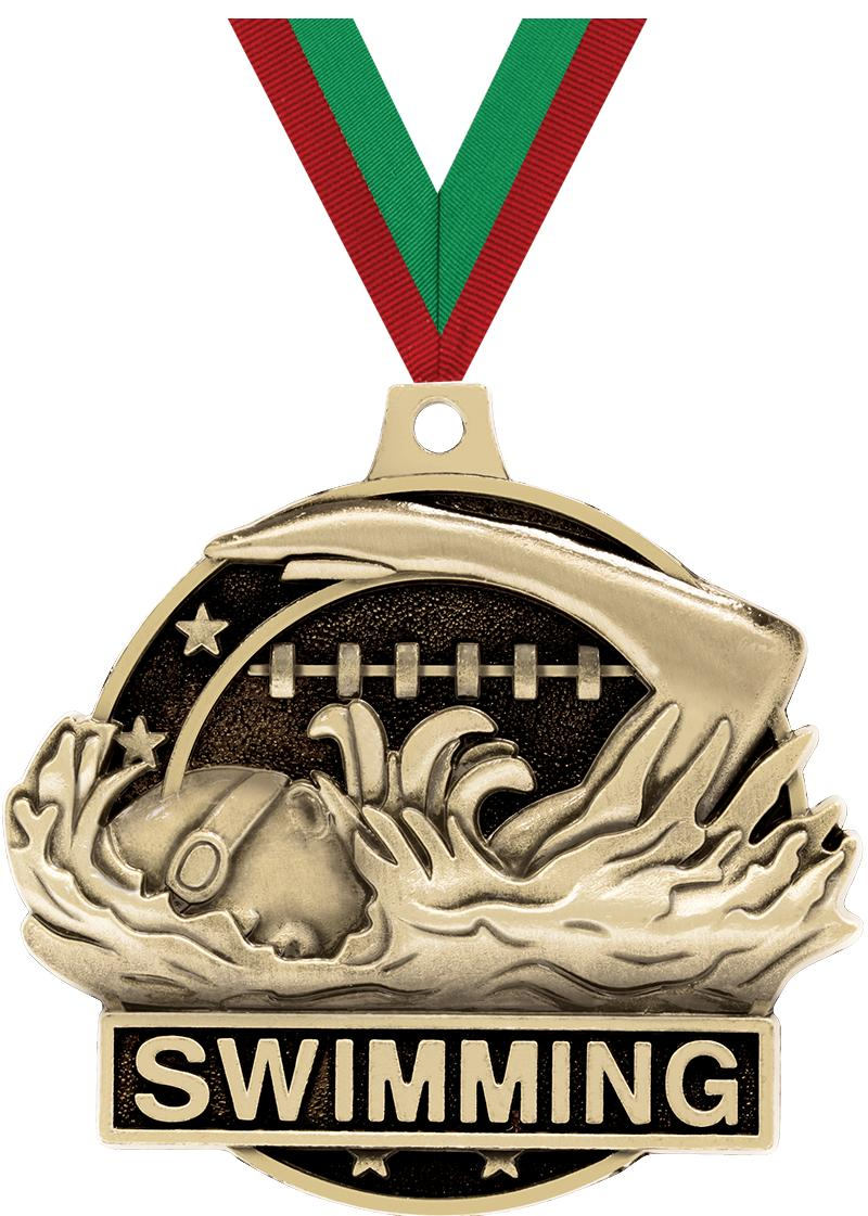 """2"""" 3D SWIMMING MEDAL GOLD"""
