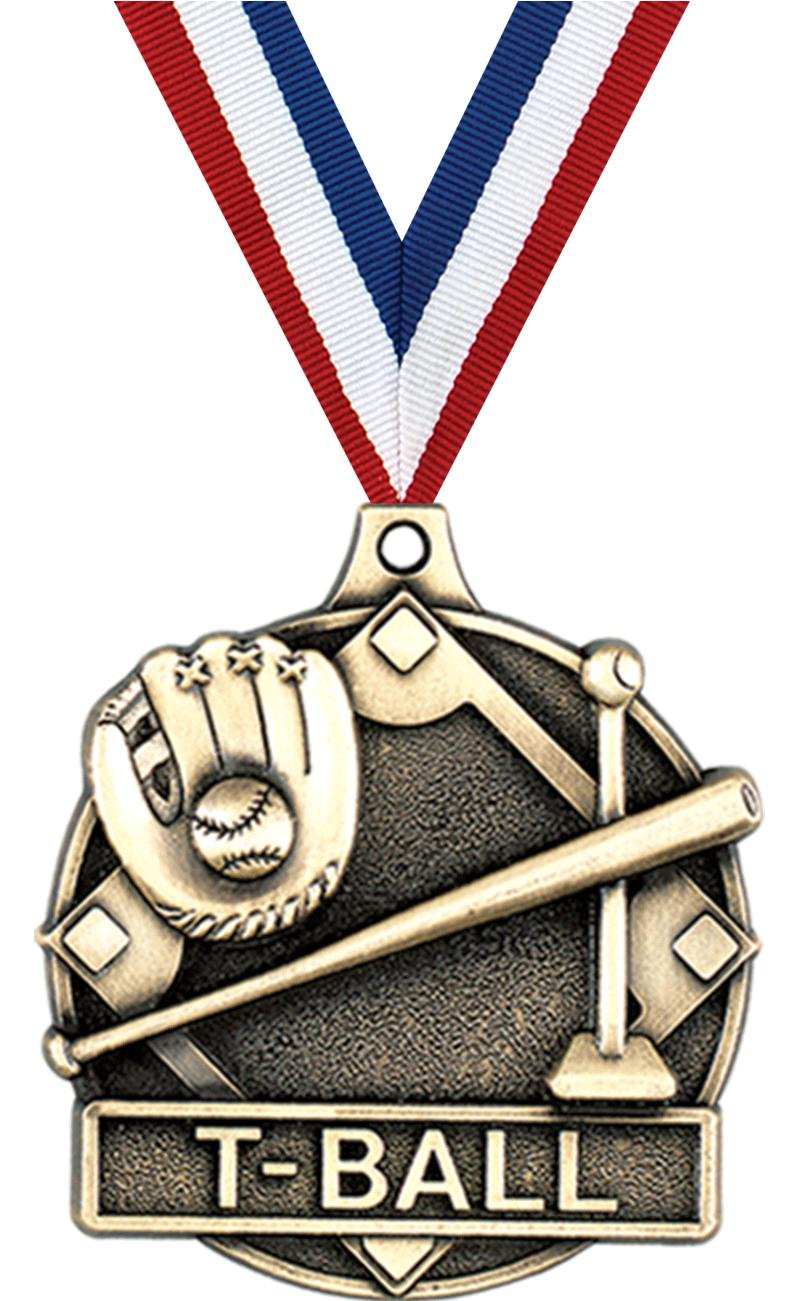 "2"" 3D T-BALL MEDAL GOLD"