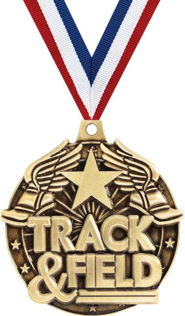 2 3d Diecast Track Field Medals 2 Trackfield Winged Foot