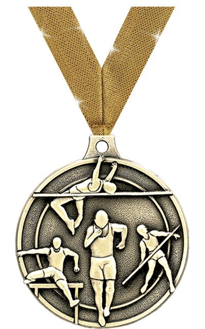 "2"" 3D TRACK & FIELD MEDAL GOLD"