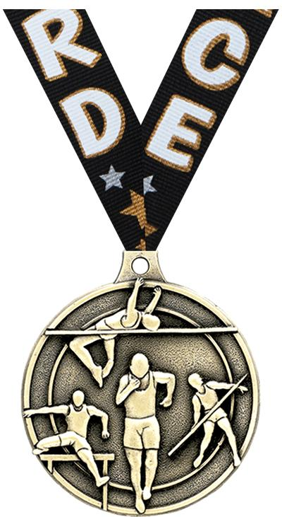 """2"""" 3D TRACK & FIELD MEDAL GOLD"""