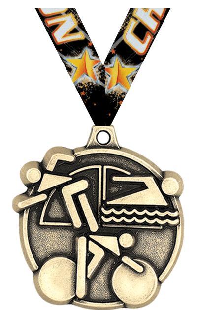 """2"""" 3D TRIATHLON MEDAL GOLD"""