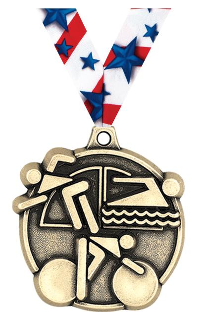 "2"" 3D TRIATHLON MEDAL GOLD"