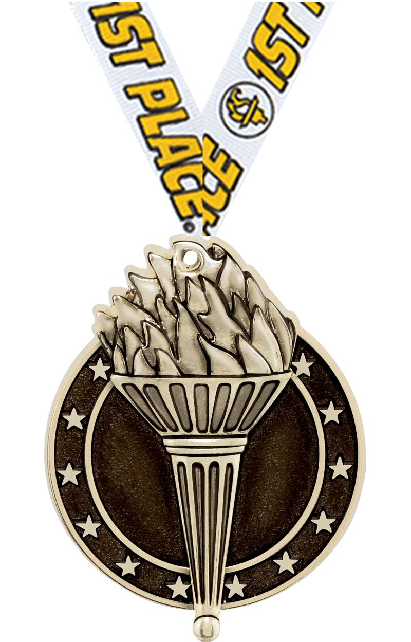 "2"" 3D TORCH MEDAL GOLD"