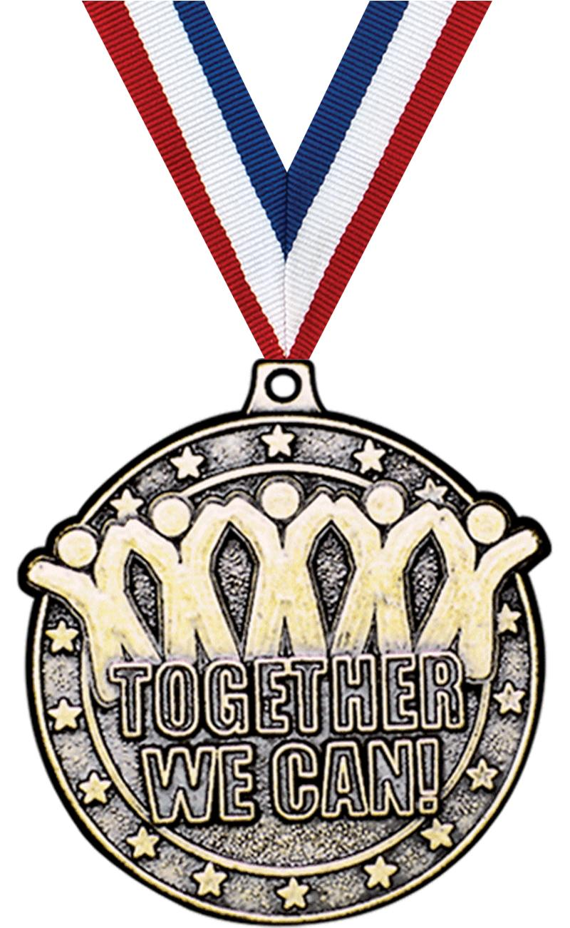 "2"" 3D TOGETHER WE CAN MEDAL GD"