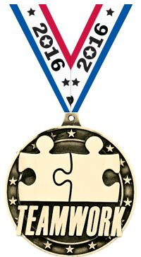 "2"" 3D TEAMWORK GOLD MEDAL"