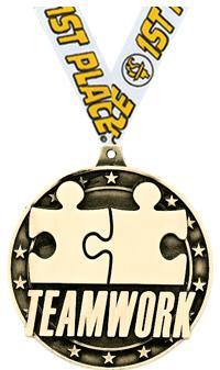 "2"" 3D TEAMWORK GOLD MEDAL"