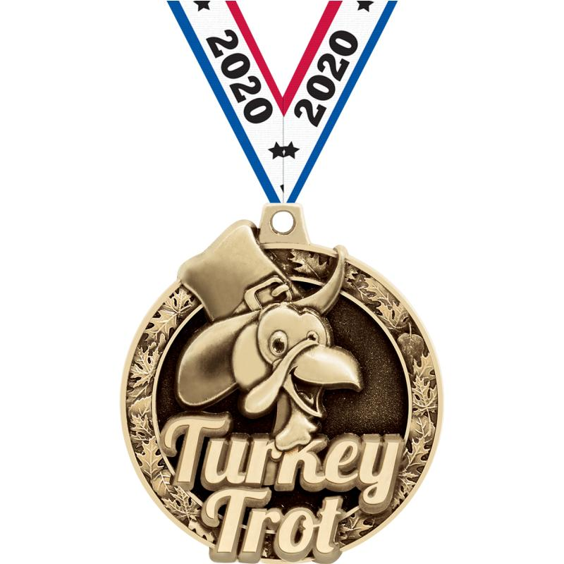 "2""3D TURKEY TROT MEDAL GOLD"