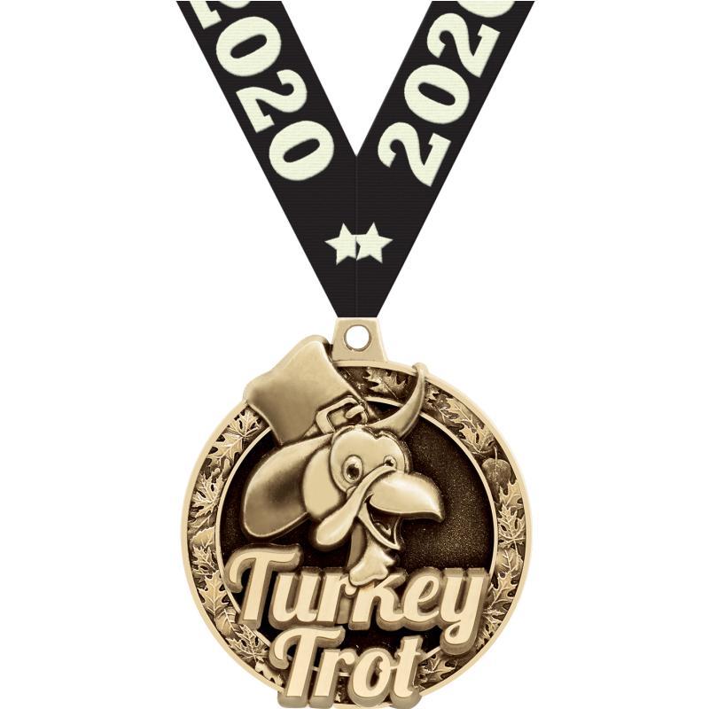 "2""3D TURKEY TROT MEDAL GOLD"