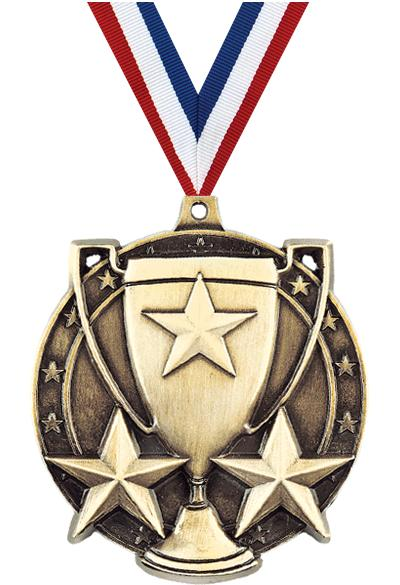 """2"""" 3D STAR/CUP MEDAL GOLD"""