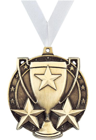 "2"" 3D STAR/CUP MEDAL GOLD"