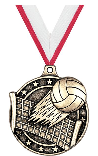 "2"" 3D VOLLEYBALL MEDAL GOLD"