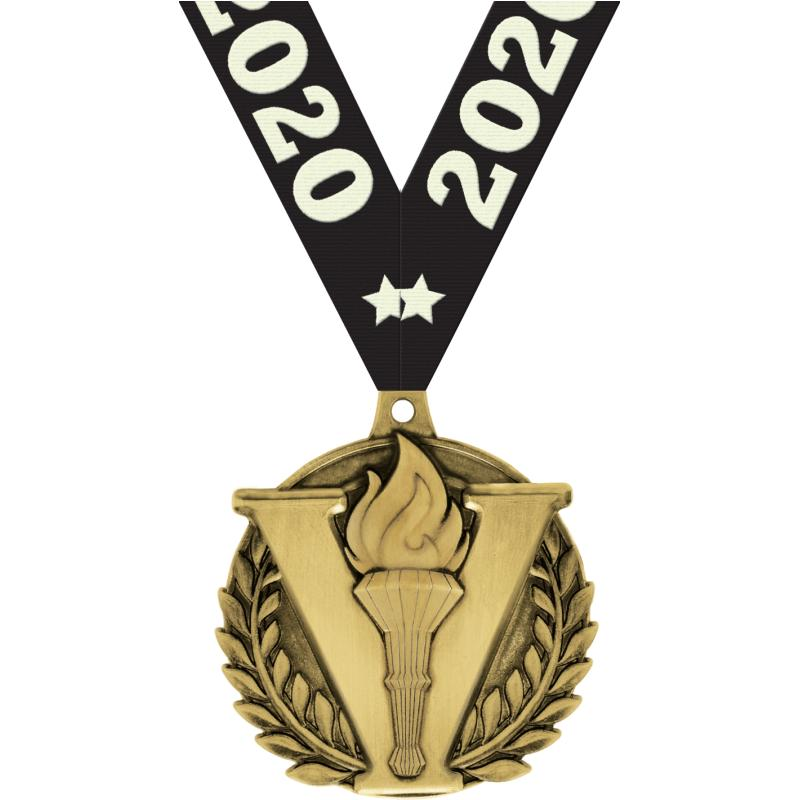 """2"""" 3D VICTORY TORCH MEDAL GOLD"""