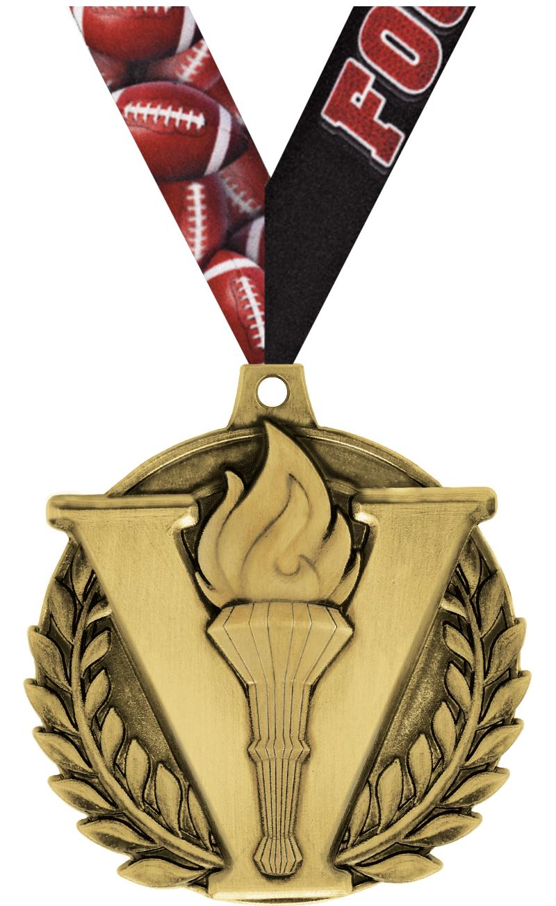 "2"" 3D VICTORY TORCH MEDAL GOLD"