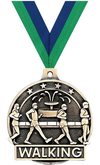 "2"" 3D WALKING MEDAL GOLD"
