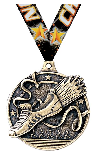 """2"""" 3D WINGED FOOT MEDAL GOLD"""