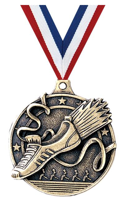 "2"" 3D WINGED FOOT MEDAL GOLD"