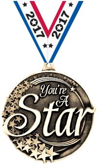"2"" You Are A Star Medal"