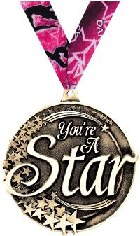 """2"""" 3D YOU ARE A STAR GOLD MEDA"""