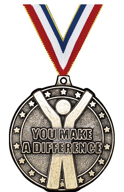 """2"""" 3D YOU MAKE A DIFF MEDAL GD"""